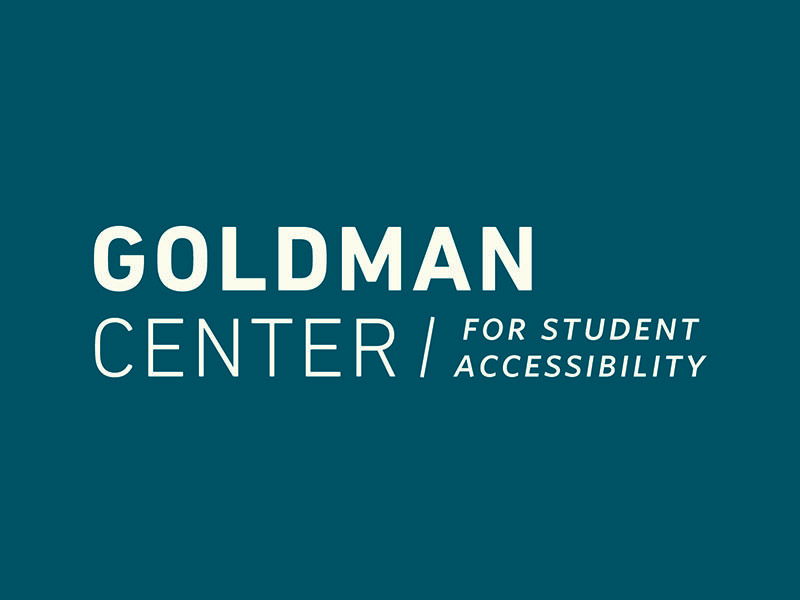 Goldman Center for Student Accessibility logo with blue background.